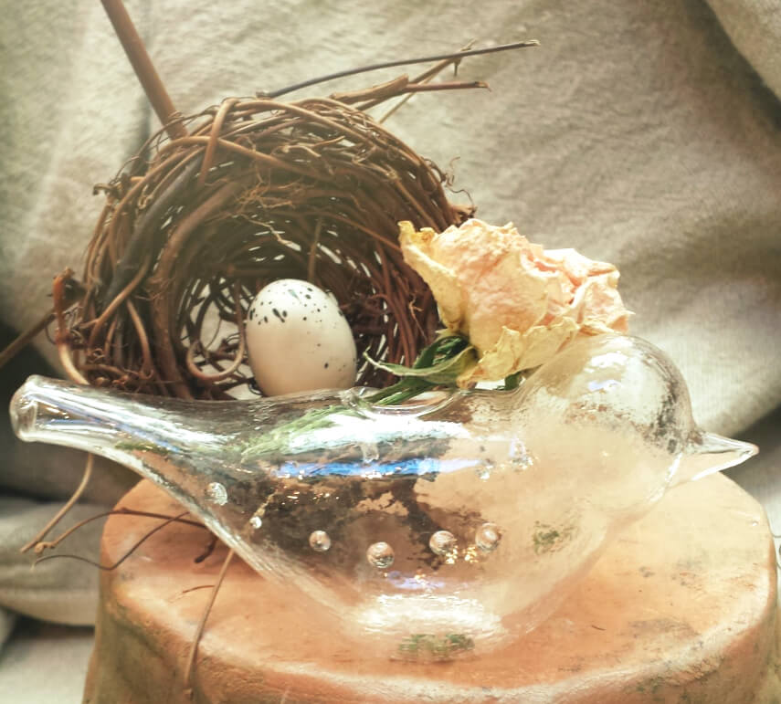 Bird bud vase