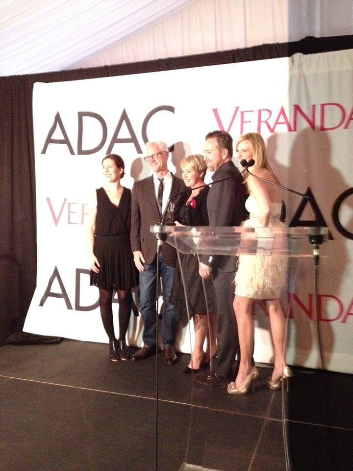 Rozanne (center) accepting the award alongside Katie Brockman, Associate Publisher of Veranda Magazine; Bobby McAlpine of McAlpine Tankersley Architecture; Veranda Magazine's Editor in Chief, Clint Smith; and Katie Belveal, ADAC General Manager.